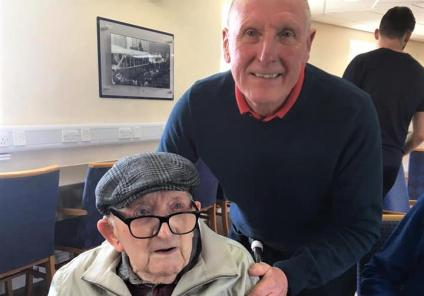 Broadway Halls Care Home, Dudley-Resident Cyril with West Bromwich Albion legend Tony 'Bomber' Brown