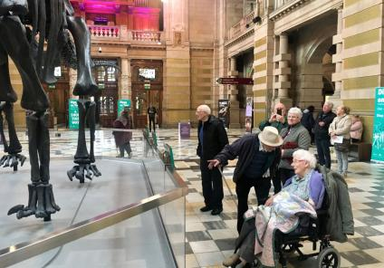 Buchanan House Care Home, Glasgow-Residents Alec, Christopher, Margaret and Isobel seeing Dippy the dinosaur up close