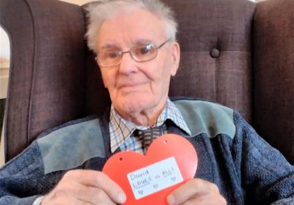 Carlton Mansions Care Home, Bristol. Resident David is spreading the love this Valentine's Day