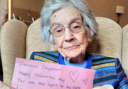 Carlton Mansions Care Home, Bristol. Resident Judie with her Valentine's message to her daughter