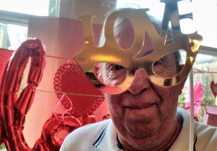 Carlton Mansions Care Home, Bristol. Resident Mark modelling some groovy love glasses!