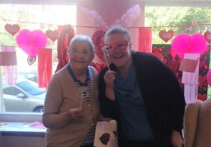 Carlton Mansions, Bristol. Resident Muriel and Deputy Manager Sarah had a great time making Valentine's Day decorations