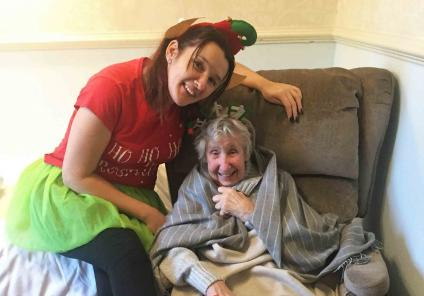 'Tis the season at Cepen Lodge, who raised £120 for the cause! Resident Barbara with Magic Moments Club Co-ordinator Ali Dyer