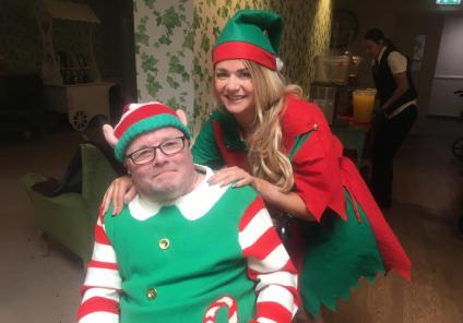 Charlotte House had a wonderful day Elfing around - resident Kevin Westbrook and Magic Moments Club Assistant Natalie Fitch