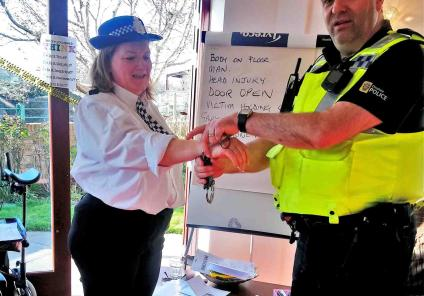 Crabwall Hall Care Home in Chester had their very own murder mystery where residents identified evidence and solved the clues. The session was followed by a demonstration from Cheshire police