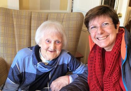 Claremont Parkway Care Home, Northamptonshire. Resident Eunice and her daughter enjoying Valentine's Day