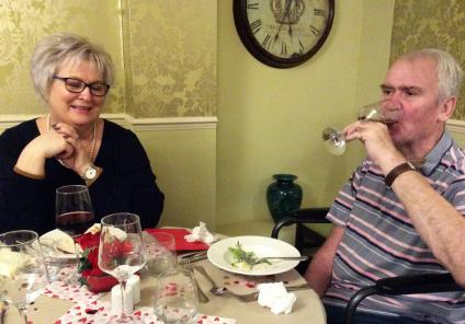 Claremont Parkway Care Home, Northamptonshire. Resident Peter and his wife Helen enjoying our Valentine's dinner