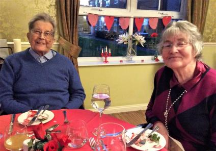 Claremont Parkway Care Home, Northamptonshire. Resident Robert and his wife at our Valentine's dinner