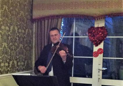 Claremont Parkway Care Home, Northamptonshire. Violinist Jon Spinner played romantic music as we enjoyed a special Valentine's dinner