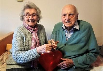 Crabwall Hall Care Home, Cheshire. Joan with her husband, resident Dennis who have been married nearly 70 years. Their secret is 'Tolerance and understanding'