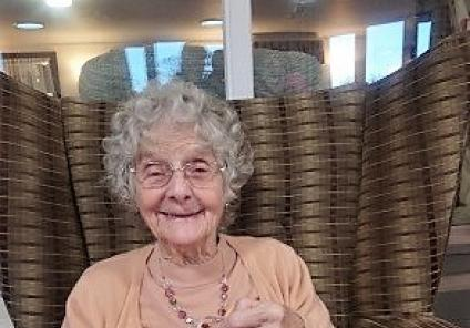 Crabwall Hall Care Home, Chester. Resident Jean with her fortune cookie