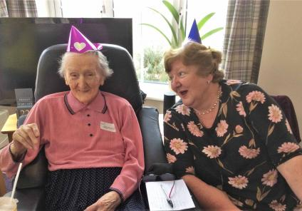 Flowerdown Care Home in Winchester hosted a murder mystery afternoon to celebrate 70 years of Cluedo, solving the mystery of who killed the butler! Resident Dora and daughter Glenda enjoy playing the characters