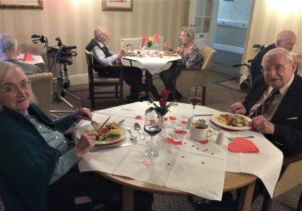 Elm Bank Care Home, Northamptonshire. Resident Kathleen and her husband Fred at our Valentine's Day lunch