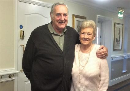 Elm Bank Care Home, Northamptonshire. Resident Rodger and his wife Jean enjoyed spending Valentine's Day together
