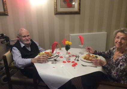 Elm Bank Care Home, Northamptonshire. Residents David and Vi who met at Elm Bank and fell in love