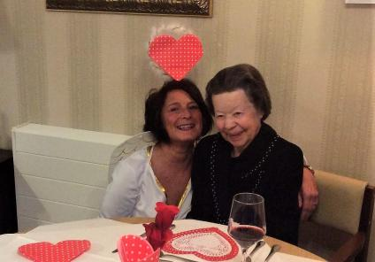 Elm Bank Care Home, Northamptonshire. Team member Jayne and resident Joyce enjoying Valentine's Day