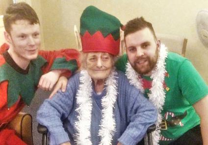Elm Bank enjoyed a special festive Elf themed Oomph! session for Elf Day! Resident Barbara with Host Cameron and Deputy Manager Josh.