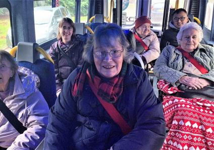 All aboard our minibus for our trip out; Kitty, Carol, Pat, Doreen, Betty and Tok ready to do some Christmas shopping
