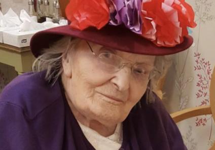 Resident Gwen Fletcher showcasing her beautiful homemade hat