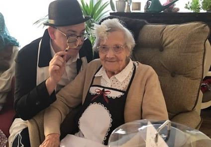 Mill House Care Home in Witney had a live-action game of cluedo solving 'Who stole the cake?'. Home Manager Michael and resident Dorren have spotted the cake is missing and begin investigating