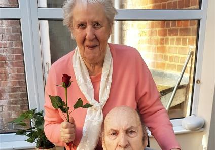 Hamilton House Care Home, Buckingham. When Jennifer came to see her husband, our resident Edward today, he presented her with a red rose. The couple have been married for 60 years