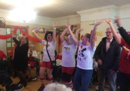 Henleigh Hall Care Home, Sheffield. Singing and dancing to raise money for Comic Relief