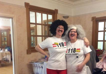 Henleigh Hall Care Home, Sheffield. Team members Kelly and Andrea get into the spirit of Red Nose Day