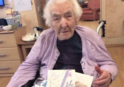 Henleigh Hall Care Home, Sheffield-Sally with her Mother's Day cards