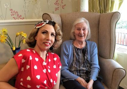 Highfields Care Home, Newark. Singer Jayne Darling entertained us all with some romantic favourites. Here she is with resident Barbara