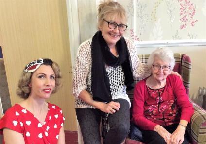 Highfields Care Home, Newark. Singer Jayne Darling, Karen, and her mum, resident Margaret, enjoying our Valentine's Day entertainment