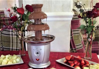 Highfields Care Home, Newark. Valentine's Day - a perfect excuse to get our chocolate fountain flowing!