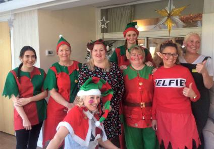 The team at Highfields are 'elfie' ready! Residents enjoyed a visit from a theatre group singing Christmas songs with some mince pies and mulled wine!