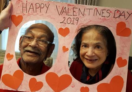 Houndswood House Care Home, Hertfordshire. Nihal and Theresa get into the spirit of Valentine's Day
