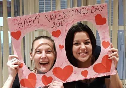 Houndswood House Care Home, Hertfordshire. Team members Helen and Iolanda spread the love this Valentine's Day