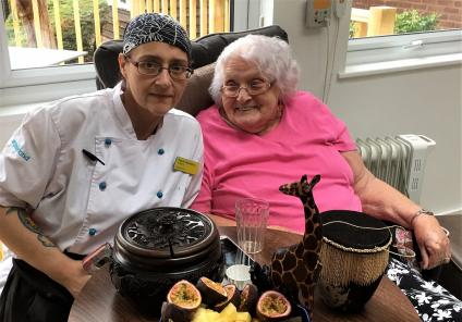 Houndswood House Care Home, Radlett -Chef Valerie and resident Maureen enjoying our Ugandan afternoon