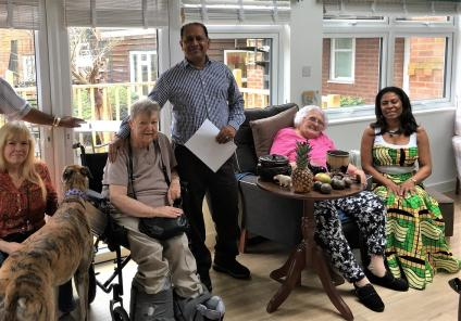 Houndswood House Care Home, Radlett-Team member Siven, family member Wendy and her dog, resident Margaret, team member  Balla, resident Maureen and our special visitor Dee