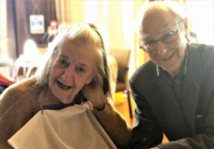 Hungerford Care Home, Berkshire. Resident Jean and her husband Lister enjoying Valentine's Day