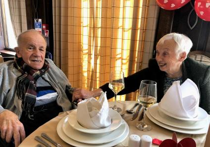 Hungerford Care Home, Berkshire. Resident Royston and his wife Sylvia seated for our special Valentine's Day lunch