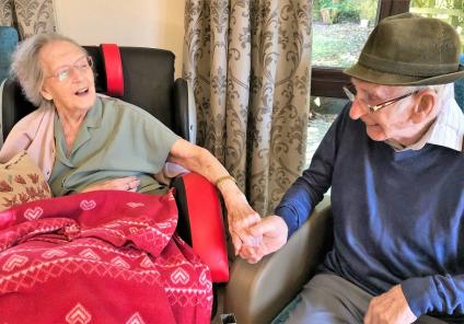 Hungerford Care Home, Berkshire. Residents June and Ray enjoying their Valentine's Day together
