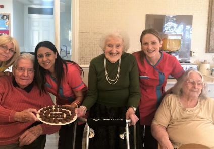 Hungerford Care Home, Berkshire. Residents and team members with our homemade Valentine's chocolates