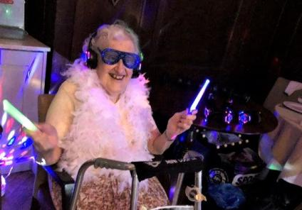 Hungerford Care Home, Berkshire-Resident Audrey enjoying our Silent Disco