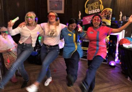Hungerford Care Home, Berkshire-Team members Sue, Hannah, Aanchal and Kanika on the dancefloor