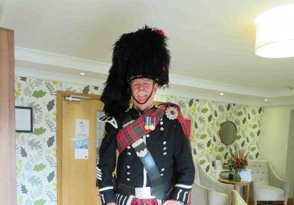 Westbury Court Care Home had a special performance from bagpipe player  Bob MacNaught. Here he is all dressed up in traditional attire!