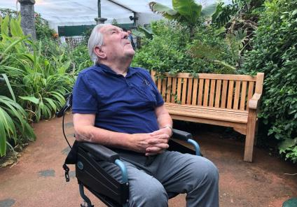 Residents at Glebefields Care Home in Banbury on a trip to Stratford Butterfly Farm