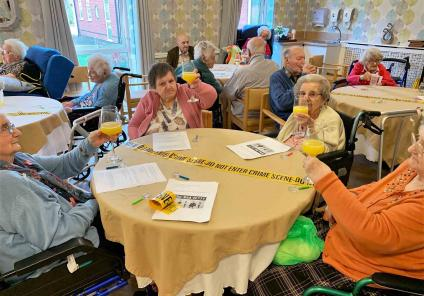 Wheaton Aston Court in Staffordshire had a fantastic afternoon solving the mystery of 'who stole the spam?'. Residents raise a glass when the case is solved