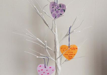 Glebefields Care Home in Banbury had a 'tree of love' where residents could hang hearts with messaged to remember anybody they love or have loved!