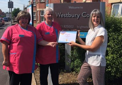 The team at Westbury Court Care Home in Wiltshire receive Care Home of the Month award from Musica