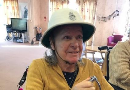 Silver Springs Care Home in Jersey had fun with their police-themed day which included quizzes and a visit from the Jersey State Police, followed by mystery wine and cheese. Resident Christine tries on the historical custodian helmet and handcuffs!