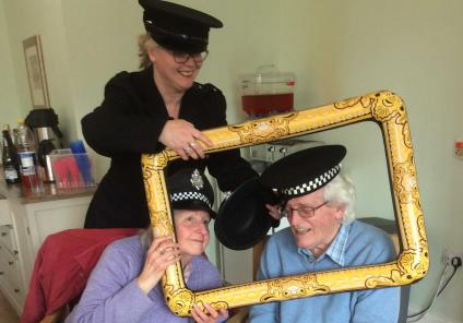 St Margarets Care Home were tasked with solving the mystery of 'who killed the home manager?'. Inspector Caroline (Magic Moments Club Co-ordinator) with resident Peter and his wife Patricia