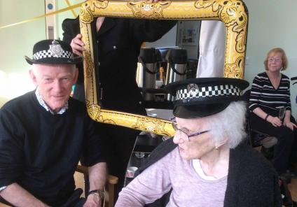 St Margarets Care Home were tasked with solving the mystery of 'who killed the home manager?'. Inspector Caroline (Magic Moments Club Co-ordinator) with resident Nancy and her son Alistair
